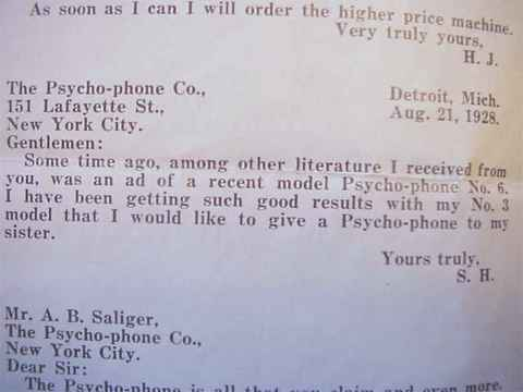 Letter to AB Saliger of the Psycho-phone Company - testimonial