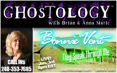 Bonnie Vent guest appearance on Ghostology 01/03/09 5:00pm PT