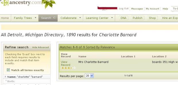 Mrs. Charlotte Barnard City Directory record