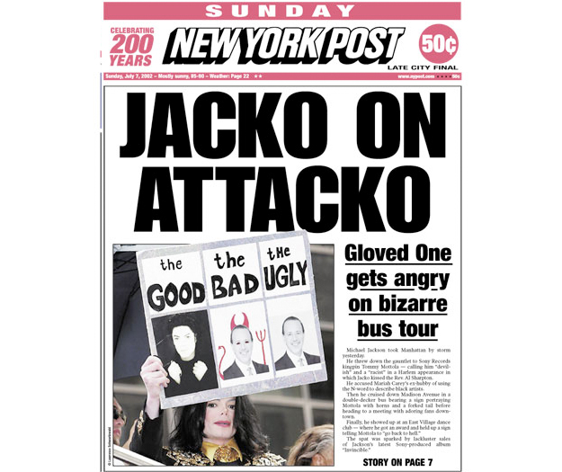 New York Post article on Michael Jackson in NYC on July 7 2002 - same day as the presented Will was signed