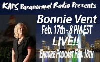 Bonnie Vent guest appearance on KAPS Paranormal Radio