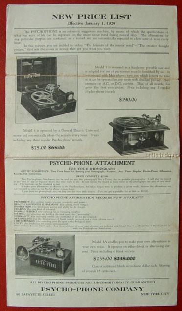 Psycho-phone original price list from January 1, 1929
