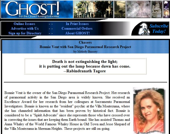 Bonnie Vent in Ghost Magazine
