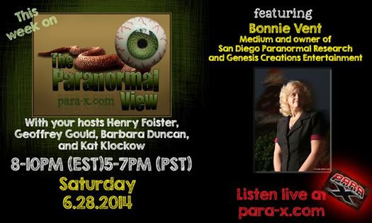 Bonnie Vent on The Paranormal View Para X Radio network