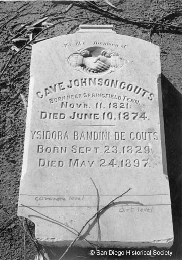 Grave Marker of Ysidora Bandini and Cave Johnson Couts